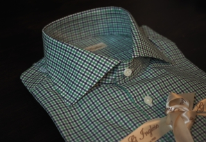 Green Gingham with Blue Overcheck